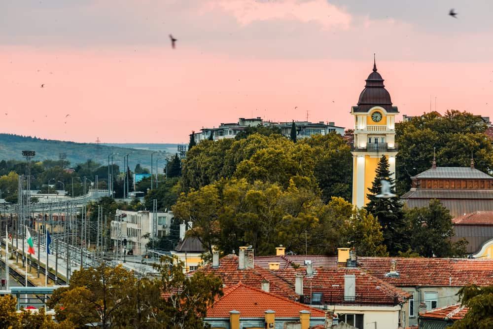Bulgaria - Burgas - Sunset above Burgas, Bulgaria Burgas Train Station