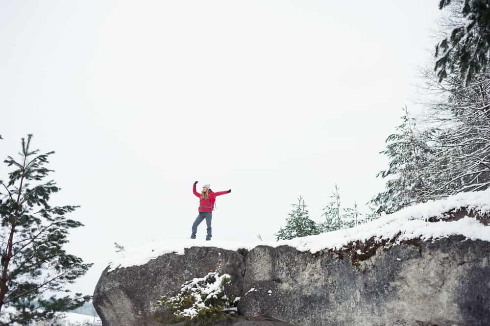 Bled - Slovenia - Winter tourist on the top of mountain