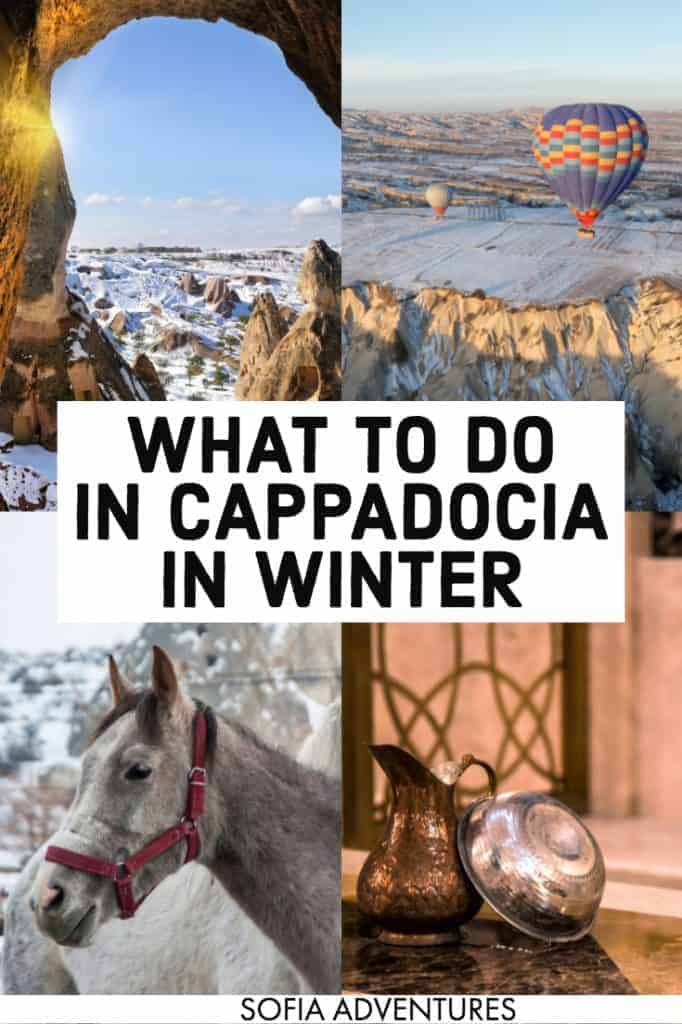 Planning to visit Cappadocia, Turkey in December, January, or February? This Cappadocia travel guide to the best things to do in Cappadocia in winter will save you! From tips on hot air balloons to photography & Instagram locations to packing & outfit tips for winter travel & suggested cave hotels, here's all you need to plan the perfect trip and your winter Cappadocia itinerary! Cappadocia trip | Cappadocia vacation | Cappadocia travel | Turkey travel tips | Cappadocia tips