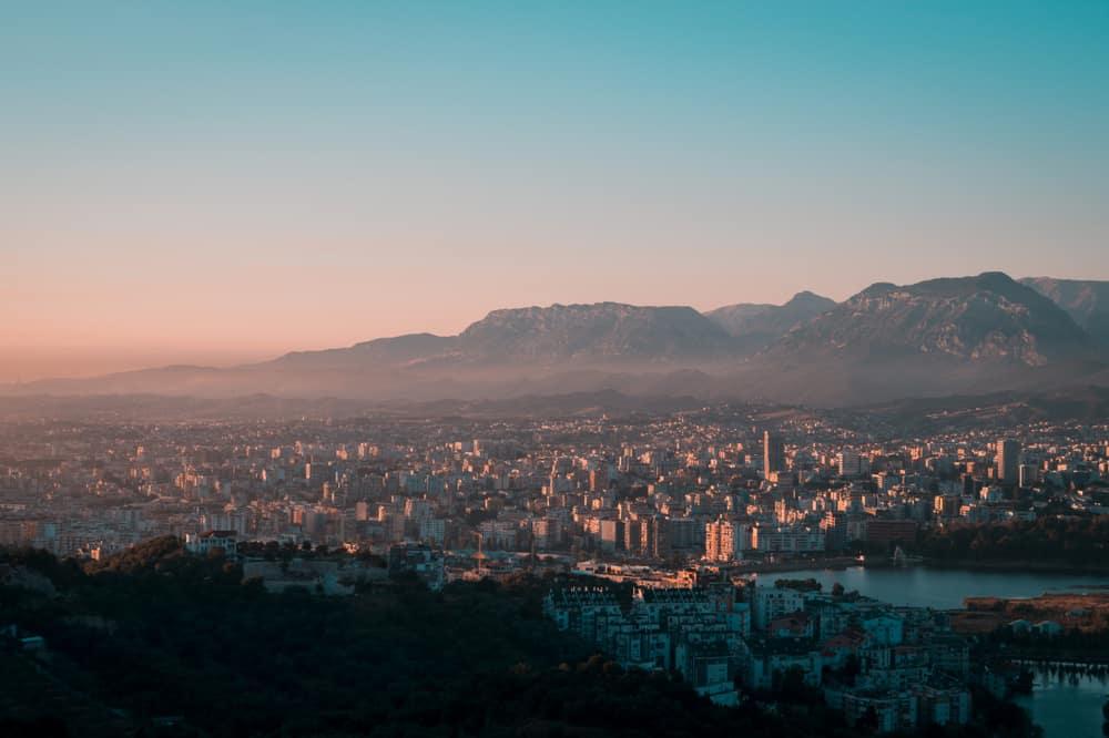 Albania - Tirana - Aerial view of Tirana city and outskirts, Albania. Tirana city seen from the Dajti Express (Dajti Ekspres). Beautiful cityscape seen from the Dajti Express cable car. - Image