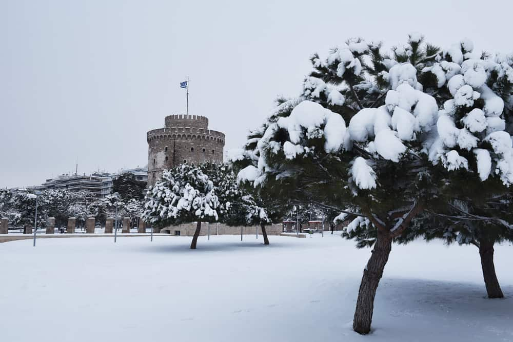 Greece - Thessaloniki - View of the White Tower, during a snowy winter's day at the northern Greek city of Thessaloniki