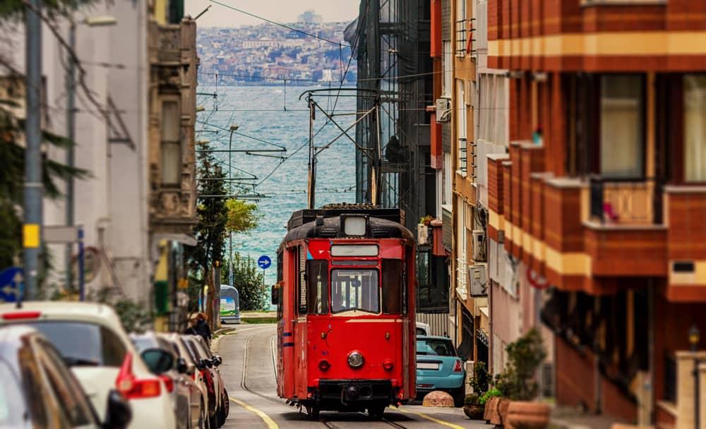 Kadikoy - Istanbul - Turkey - Old nostalgic tram going through the streets of Kadikoy on the Asian side of Istanbul