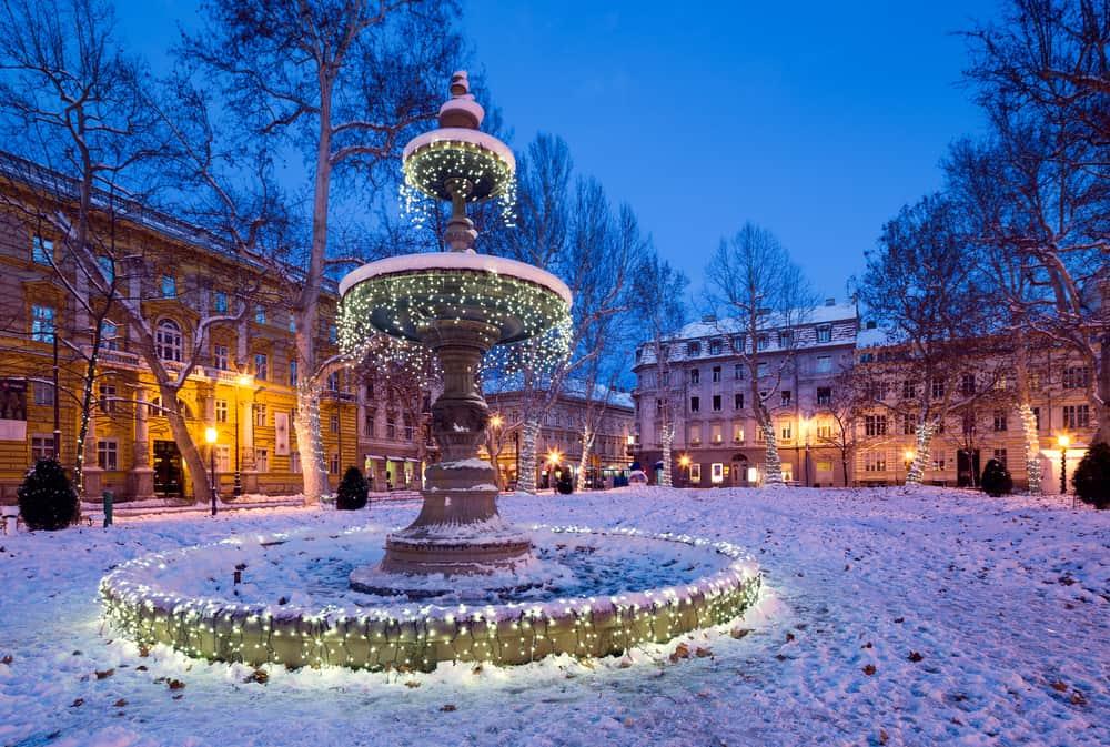 Croatia - Zagreb - festive decorated park in Zagreb. Croatia
