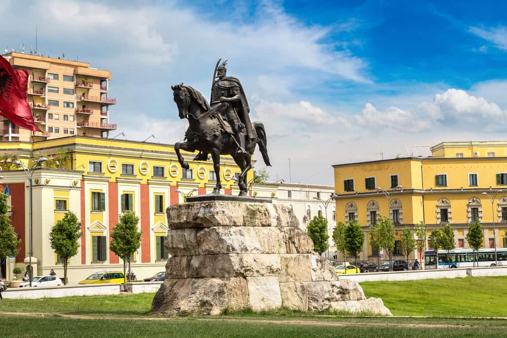 Albania - Tirana - Skanderbeg square and Skanderbeg monument in Tirana in a beautiful summer day, Albania