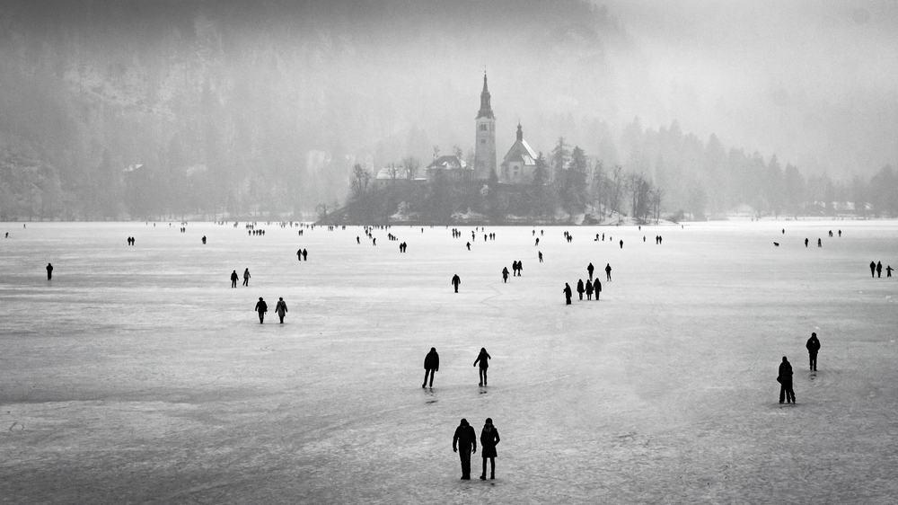 Slovenia - Lake Bled - Frozen Lake Bled, Slovenia - Image
