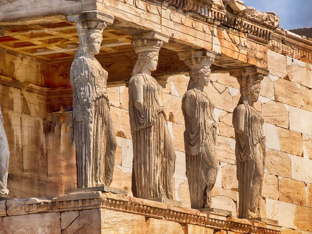 Greece - Athens - Detail of caryatids statues on the Parthenon on Acropolis Hill, Athens, Greece