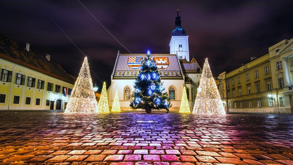 Croatia - Zagreb - Christmas light in front of the St. Marko's church in Upper town in Zagreb