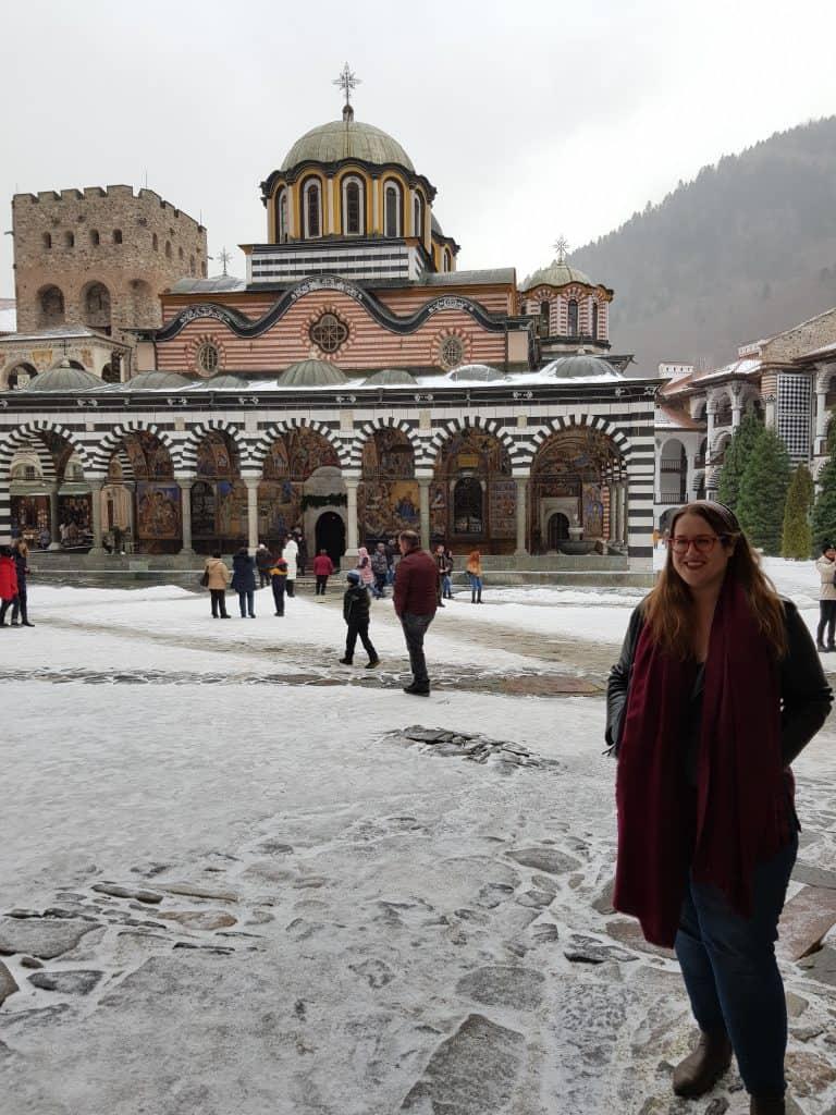 Bulgaria - Rila Monastery - Stephanie in Winter