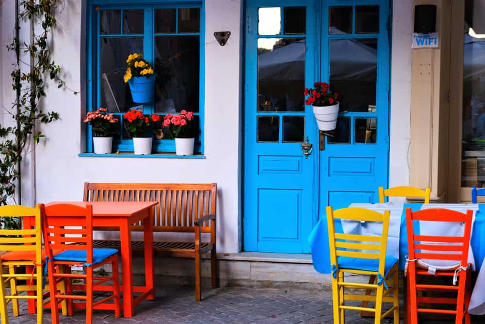 Chania - Greece - Colorful buildings, chairs, doors, alley ways, harbor entrance and street scenes