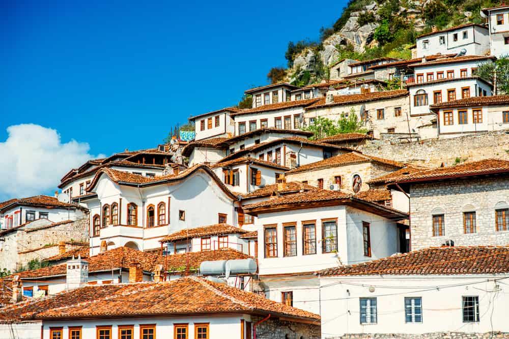 Albania - Berat - Houses in city of Berat in Albania, World Heritage Site by UNESCO