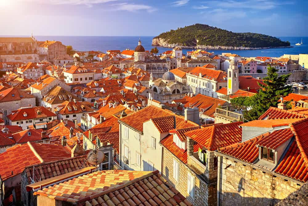 Croatia - Dubrovnik - Panorama Dubrovnik Old Town roofs at sunset. Europe, Croatia