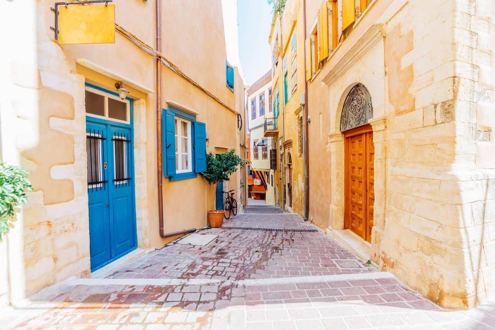 Chania - Greece - Romantic old stone and cobblestone streets of Chania, Crete island, Greece