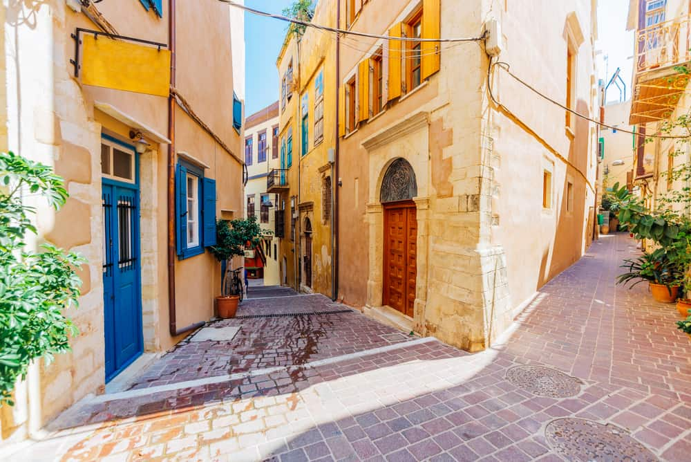 Chania - Greece- Venetian architecture in narrow stone streets of old town Chania in Crete, Greece