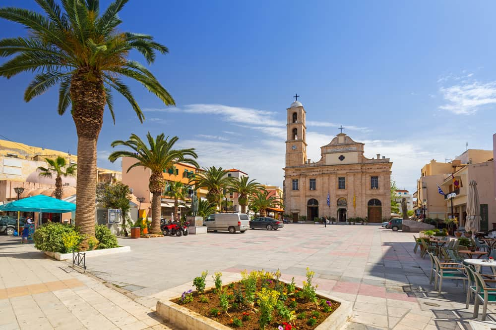 Chania - Greece - Square with Orthodox church and palm trees