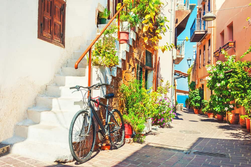Chania - Greece - Beautiful street in Chania, Crete island, Greece