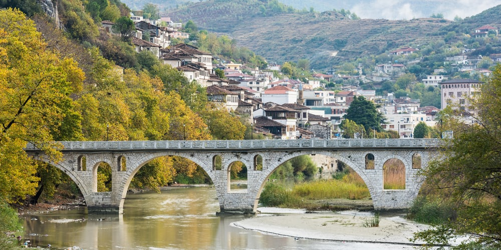 Albania - Berat - Old ottoman bridge in Berat, Albania