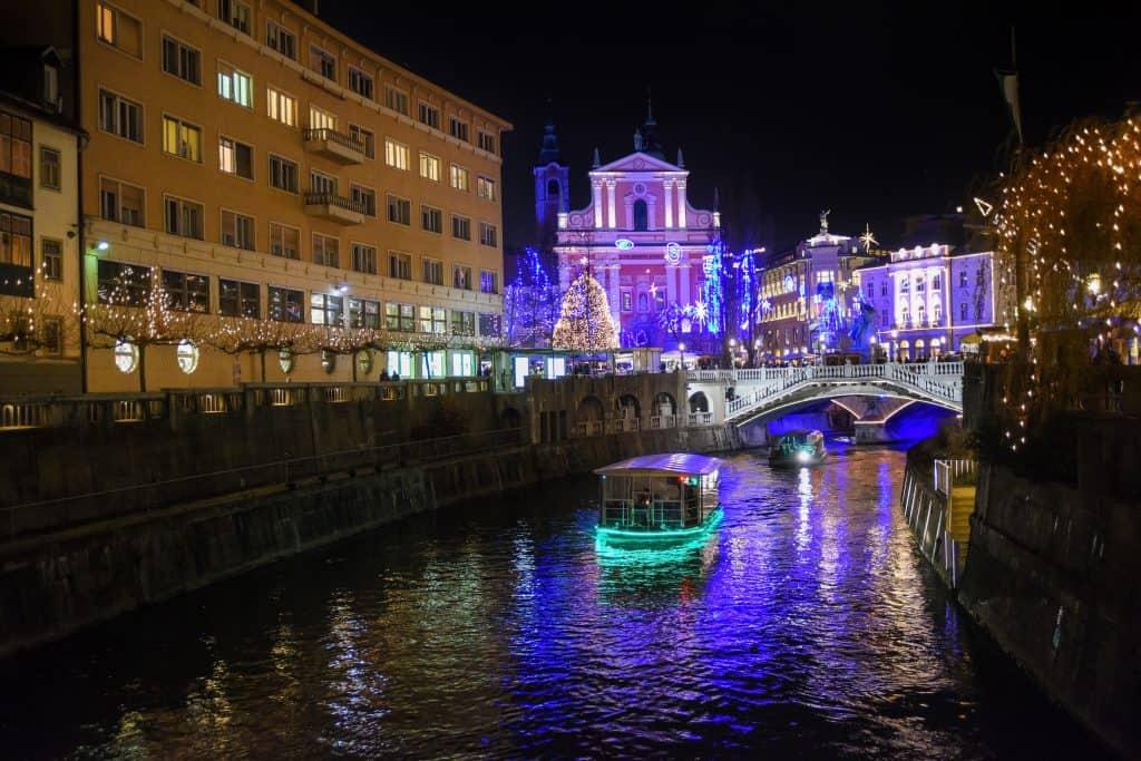 Slovenia - Ljubljana - Boats on Ljubljanica river at Christmas