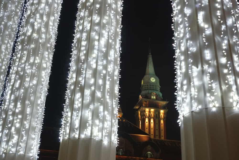 Serbia - Subotica - The City Hall building at night, Subotica, Vojvodina, Serbia.