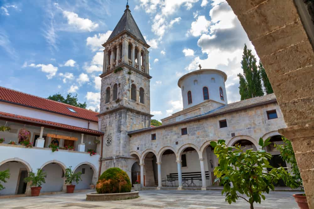 Orthodox monastery in Krka National Park with tower
