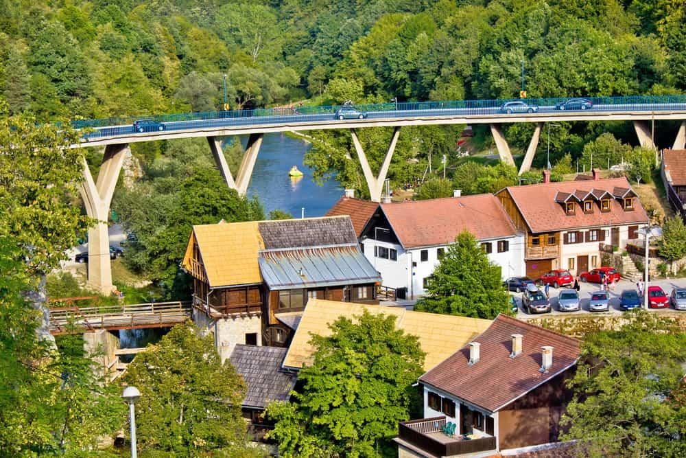 Town of Rastoke houses bridge and water