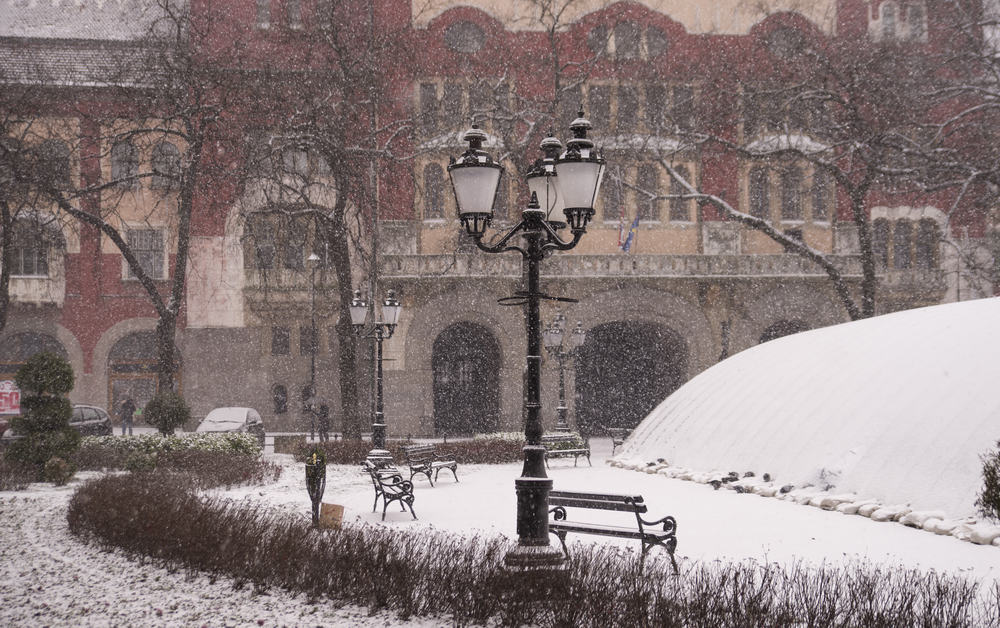 Serbia - Subotica -Street lamp in the city center during a snow fall in a park