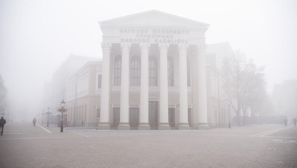 Serbia - Subotica -Building of a theater in a fogy day city center