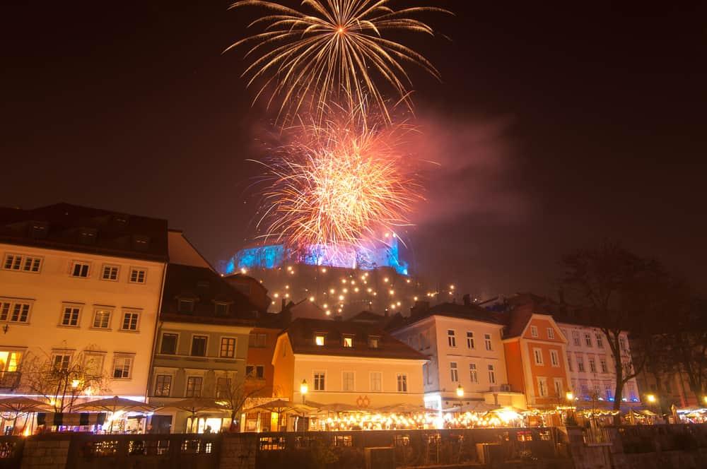 Slovenia - Ljubljana - Fireworks above Ljubljanas castle for New Years celebration, Ljubljana, Slovenia - Image