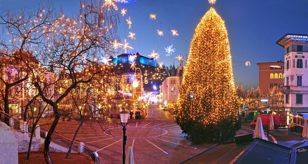 Slovenia - Ljubljana - Preserens square, decorated for Christmas and New Year celebration, Ljubljana, Slovenia