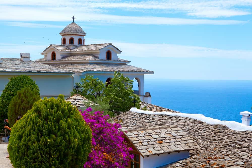 Monastery overlooking the blue sea