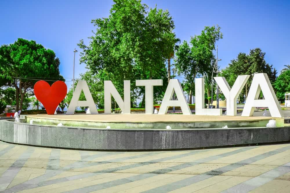 Turkey - Antalya - Love Antalya, famous fountain in the centre of Antalya, Turkey