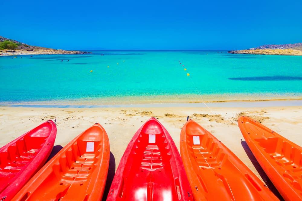 Colorful kayaks on Manganari Beach
