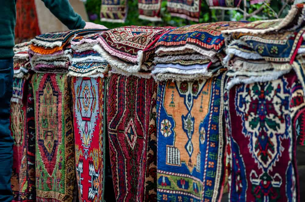 Fethiye - Colorful prayer mat woven carpets