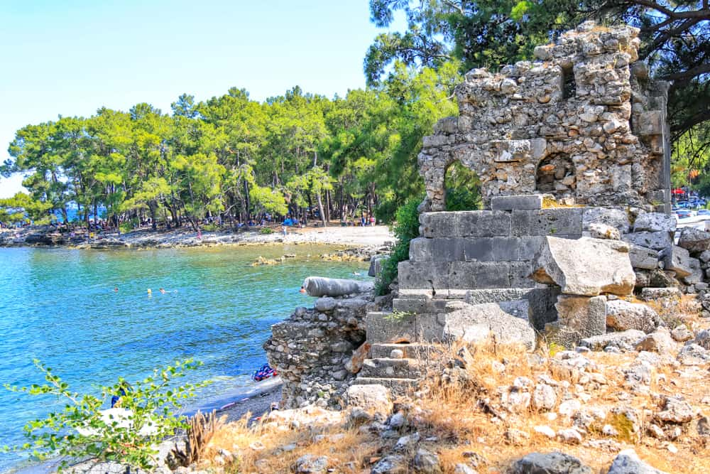 Turkey - Antalya - Phaselis ancient city in Kemer of Antalya. Glorious beaches, calm sea, fab snorkeling and all set within ancient ruins that set the imagination. Very nice and historical place very quiet beach.