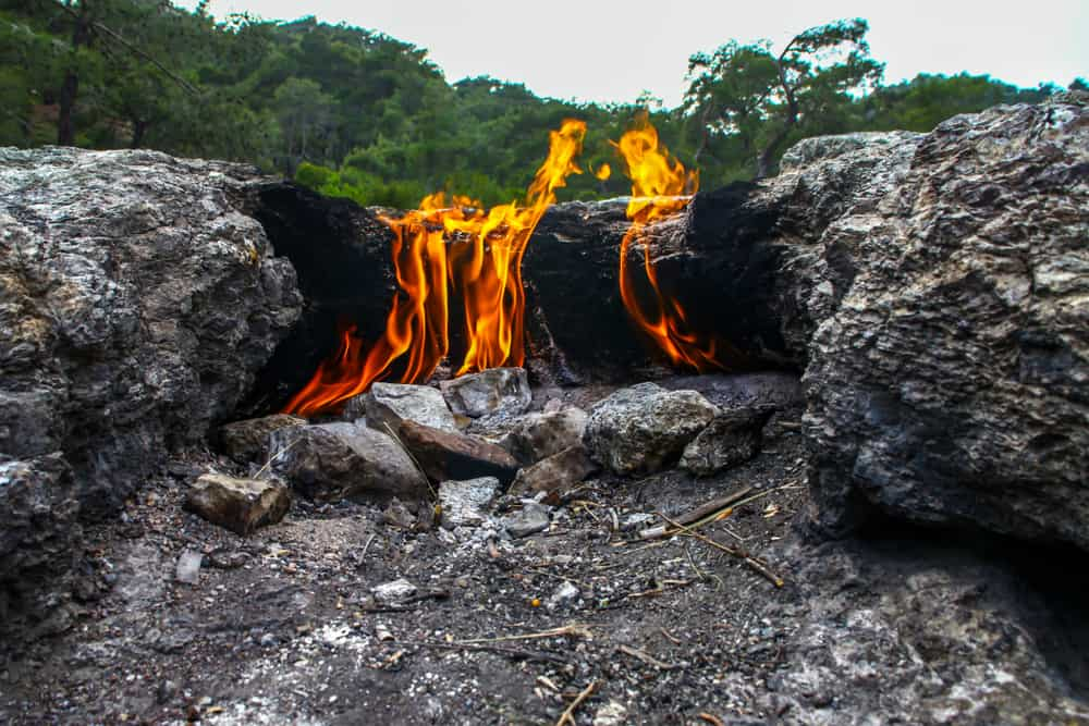 Turkey - Antalya - Yanartas burning stones is a geographical feature near the Olympos valley and national park in Antalya Province in southwestern Turkey