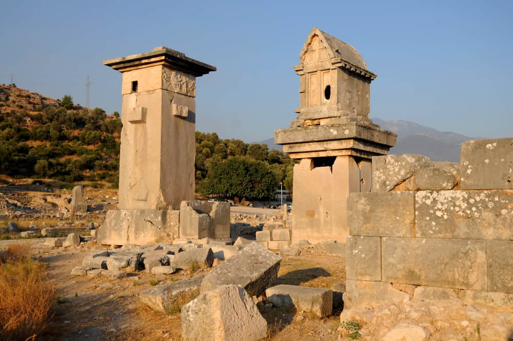 Rock pillars at ancient historical site of Xanthos