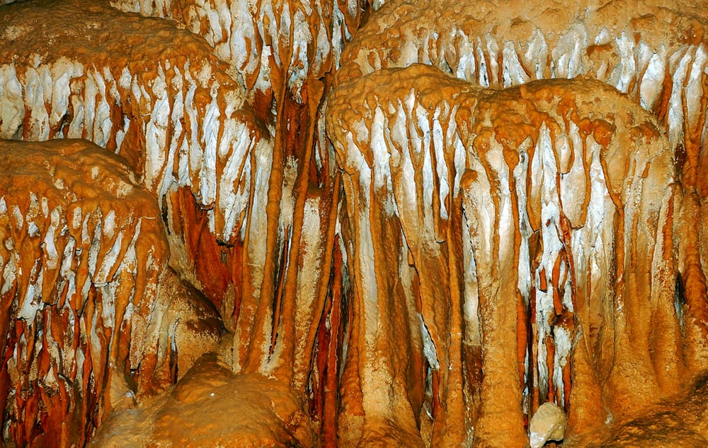 Turkey - Antalya - Kocain monumental stalagmites and stalactites in the cave with the cave entrance and Turkey's largest gallery.