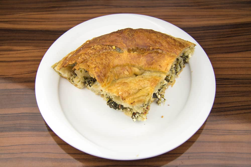 Rolled pastry with spinach inside