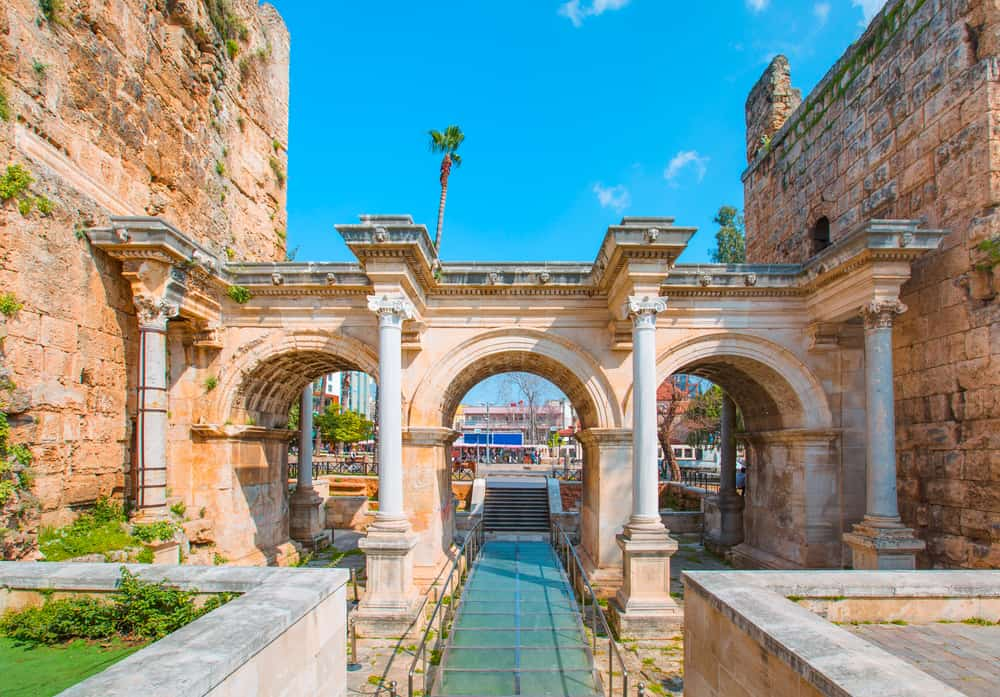 Turkey - Antalya - View of Hadrian's Gate in old city of Antalya Turkey