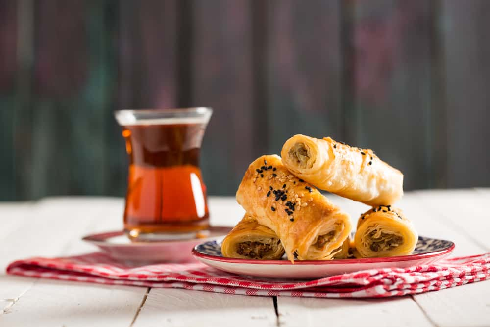 Turkey - Antalya - Tasty Pastry Borek and Tea