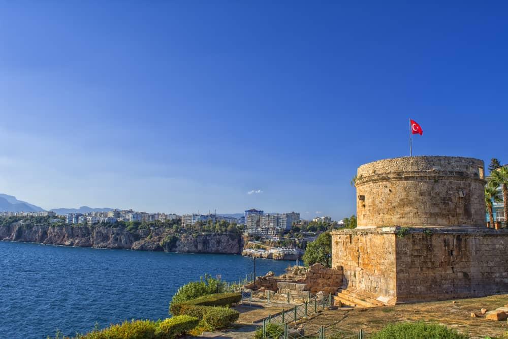 Turkey - Antalya - Ruins of the ancient fortress Hidirlik Kalesi in Kaleici. Antalya, Tourkey.