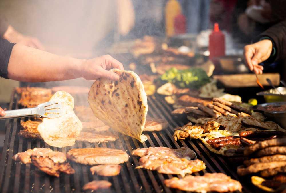 Slovenia - Balkan grill. B-B-Q. Rostilj, Balkan cuisine. Street food. Food festival