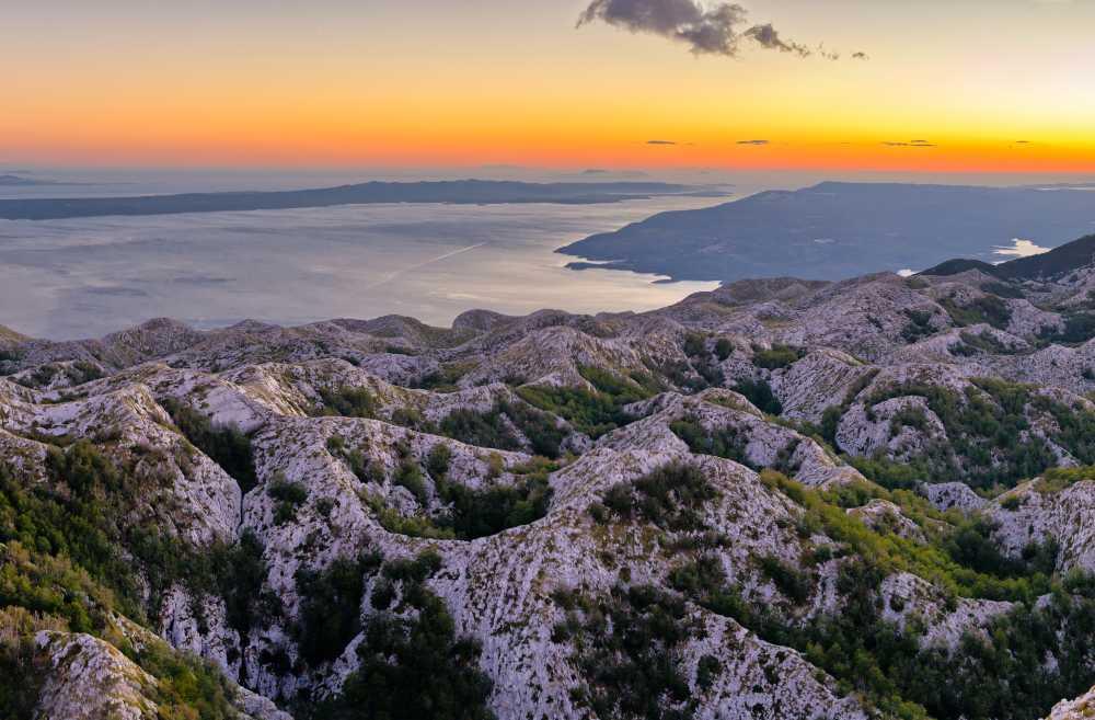 Croatia Makarska - Sunset over Biokovo park mountains in Croatia