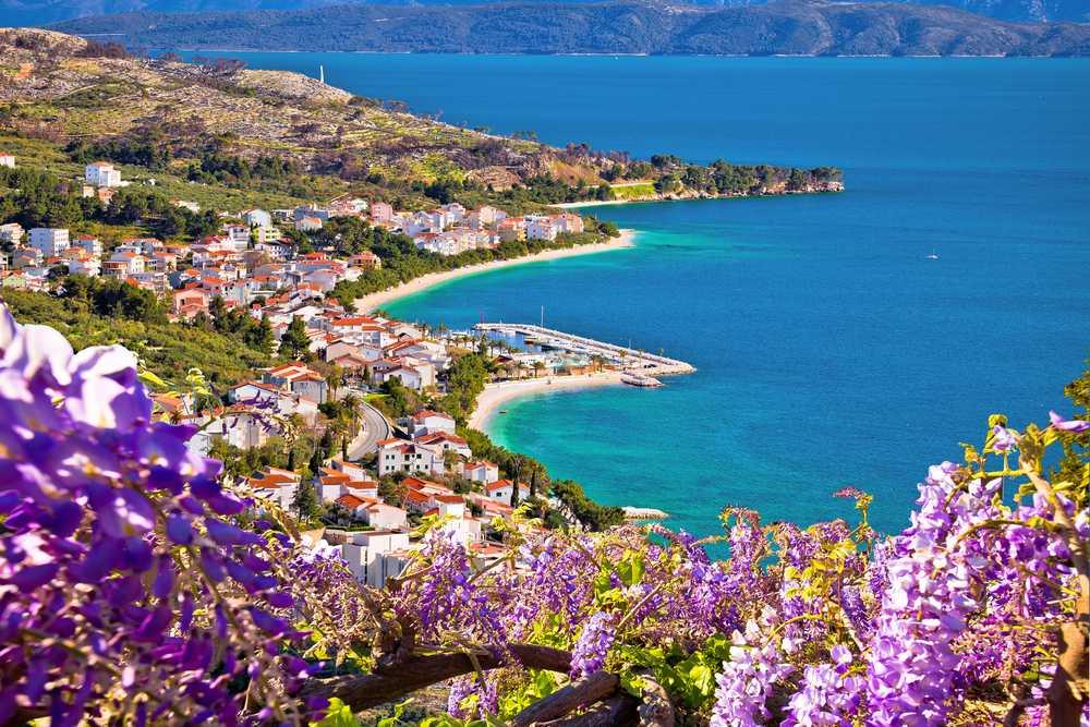 Croatia - Makarska - View of Tucepi waterfront in Makarska riviera, Dalmatia region of Croatia