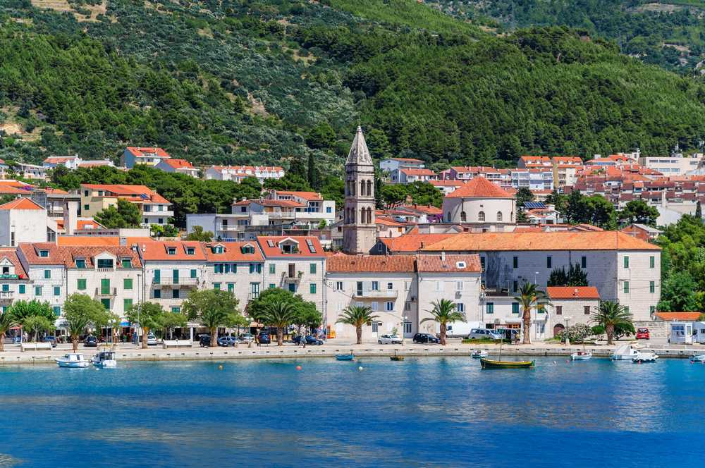 CROATIA - MAKARSKA - View of Makarska city center from the sea. Dalmatia, Croatia.
