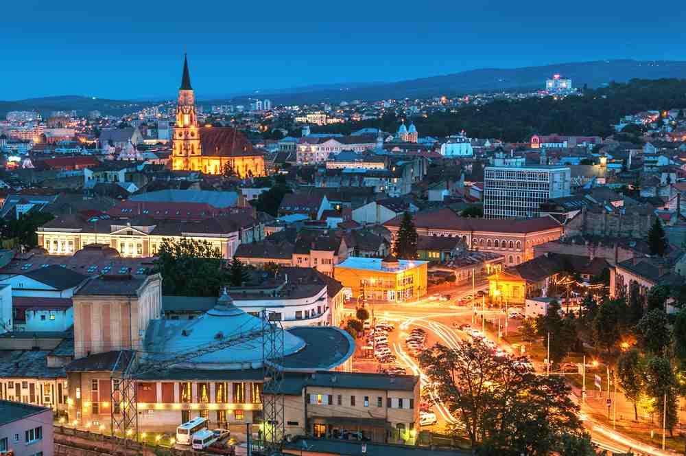 Romania - Cluj Napoca - Old city of Cluj-Napoca, night scene