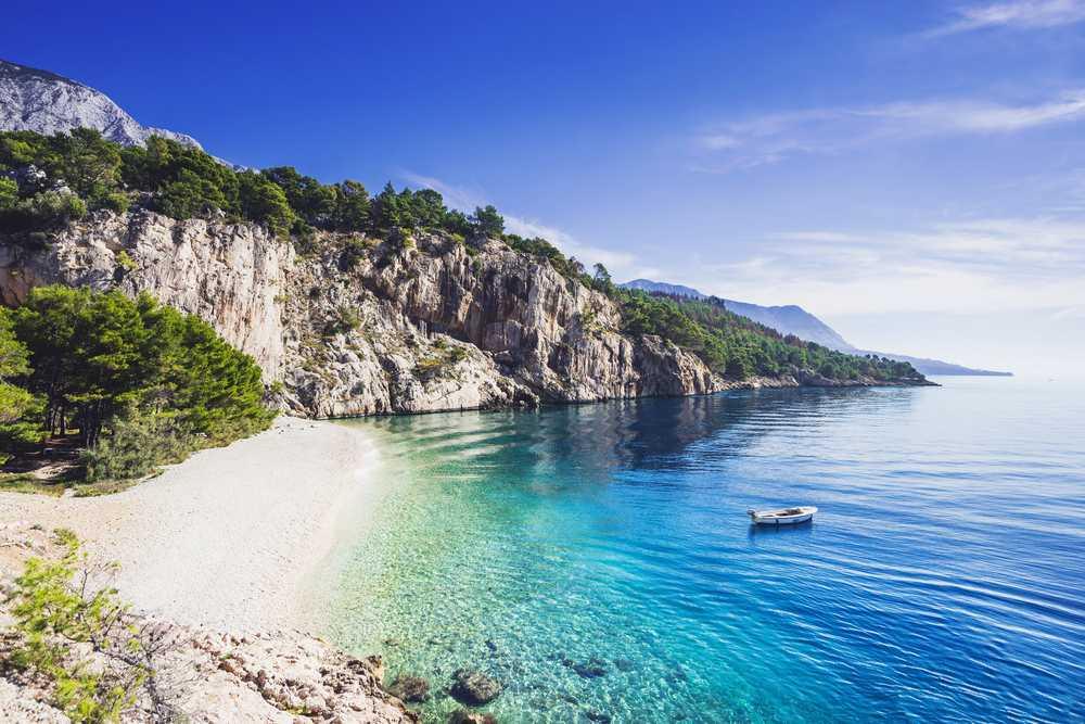 Croatia . Makarska - Beautiful Nugal beach near Makarska town, Dalmatia, Croatia. Makarska riviera, famous landmark and travel touristic destination in Europe