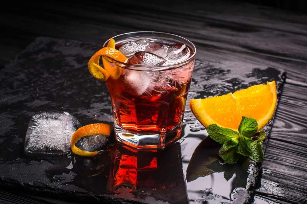 Greece - crete  - Cocktail Mezcal Negroni. Aperitivo italiano affumicato.
