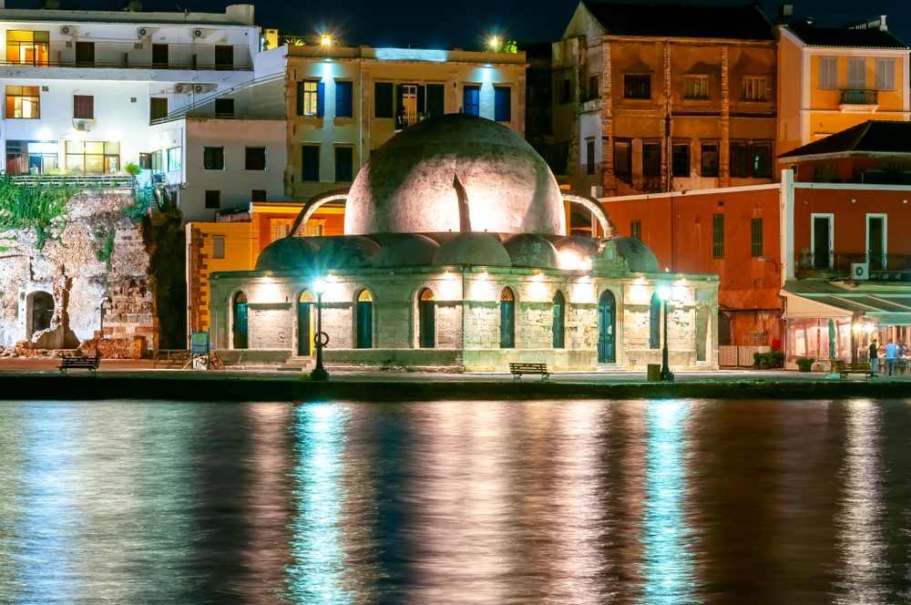 Greece - Crete - Hassan Pascha Mosque on Chania embankment at night, Crete island, Greece