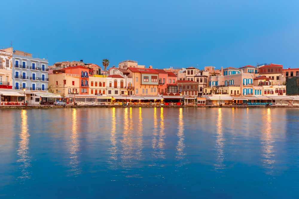 Greece - Crete - Venetian quay of Chania during twilight blue hour, Crete, Greece