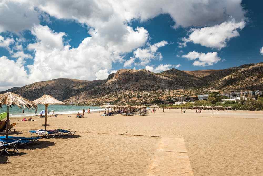 Crete - Greece - Sandy beach of Palaiochora town, Crete island, Greece